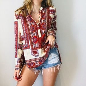 Anthro THML paisley mixed media top